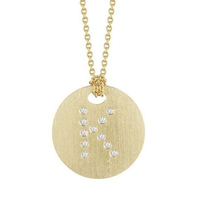 Roberto Coin Tiny Treasures Diamond K Disc Pendant