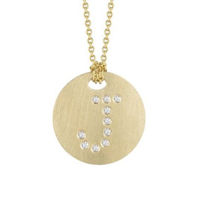 Roberto Coin Tiny Treasures Diamond J Disc Pendant