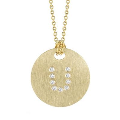 Roberto Coin Tiny Treasures Diamond U Disc Pendant