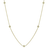 """Roberto_Coin_18K_Yellow_Gold_Five_Diamond_Station_Necklace,_18"""""""