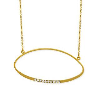 14K Yellow Gold Diamond Ellipse Necklace