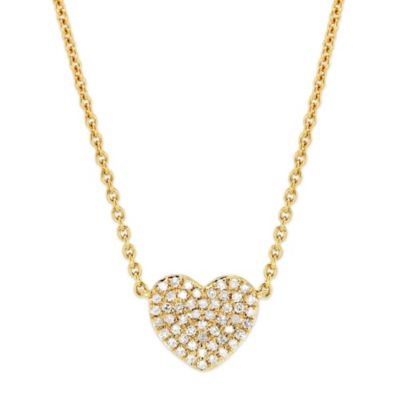 """14K Yellow Gold Pave Diamond Heart Necklace, 16"""""""