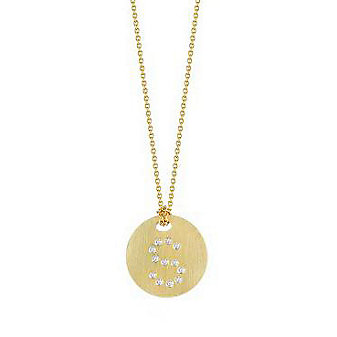 roberto coin 18k yellow gold diamond letter s necklace, 17""