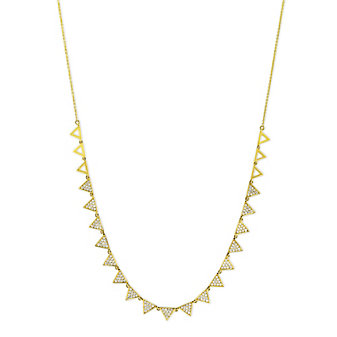 18K Yellow Gold Diamond Pyramid Station Necklace, 18""