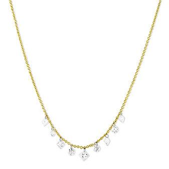 "18K Yellow Gold Aero Pierced Round & Princess Cut Diamond Necklace, 18"""