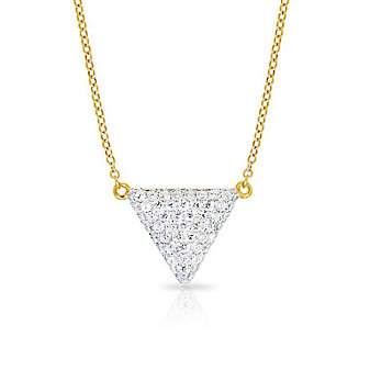 Phillips House 14K Yellow Gold Round Diamond Adjustable Triangle Contrast Necklace