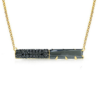 Phillips House 14K Yellow Gold Black Round Diamond & Hematite Contrast East-West Bar Necklace