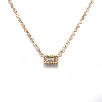 14K Yellow Gold Baguette Diamond Necklace