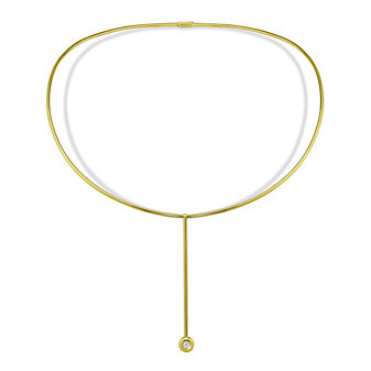 18K Yellow Gold Ezeon Diamond Collar Drop Necklace