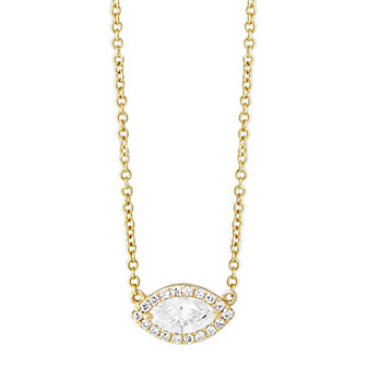 18K Yellow Gold East/West Marquise Diamond Halo Pendant