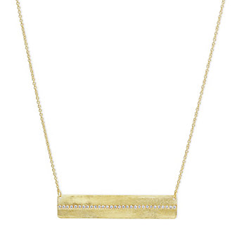 14K Yellow Gold Round Diamond Horizontal Bar Necklace
