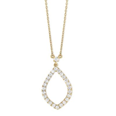 18K Yellow Gold Diamond Open Leaf Necklace