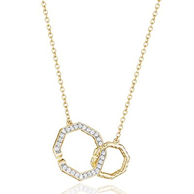 phillips house 14k yellow gold diamond open octagon necklace