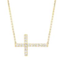 14K_Yellow_Gold_&_Round_Diamond_Sideways_Cross_Necklace