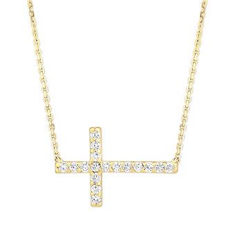 14K Yellow Gold & Round Diamond Sideways Cross Necklace