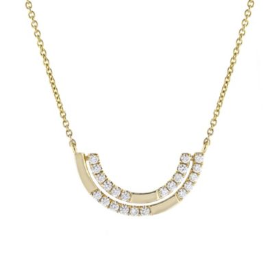 doves 18k yellow gold diamond double half moon necklace