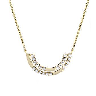 doves 18k yellow gold diamond double half moon necklace