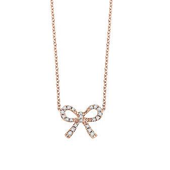14K Rose Gold Diamond Mini Bow Necklace