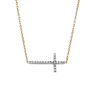 "14K White and Rose Gold Diamond Sideways Cross Pendant, 18"""