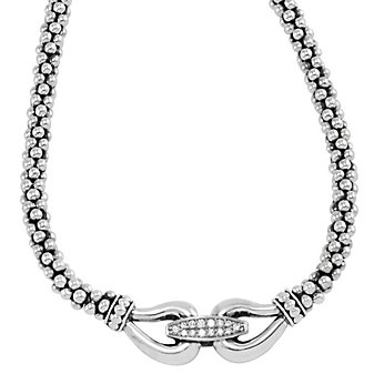 Lagos Sterling Silver & Round Diamond Derby Caviar Buckle Necklace