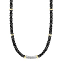 Lagos_Yellow_Gold_&_Sterling_Silver_Diamond_5mm_Black_Caviar_Necklace
