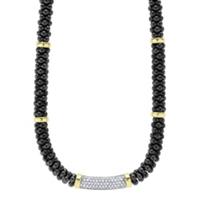 Lagos_Yellow_Gold_&_Sterling_Silver_.83_Carat_Diamond_Black_Caviar_Necklace