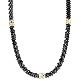 Lagos Sterling Silver & 18K Yellow Gold Black Caviar Diamond Beaded Necklace