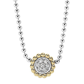Lagos Sterling Silver Caviar And Diamonds Beaded Pendant