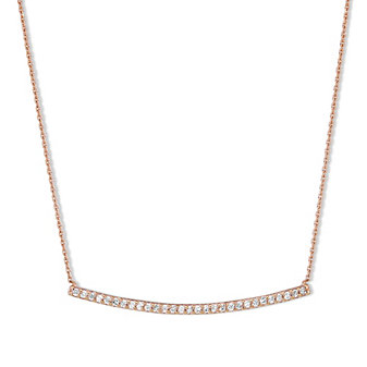 14K Rose Gold Round Diamond Curved Bar Necklace