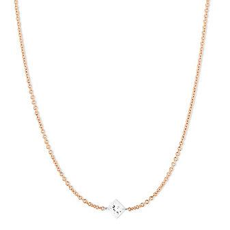 "18K Rose Gold Aero Pierced Princess Cut Diamond Necklace, 18"""