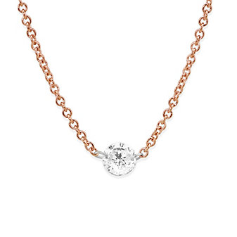 "18K Rose Gold Aero Pierced Round Diamond Necklace, 18"""