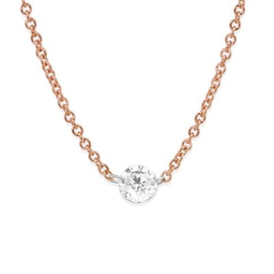 18K Rose Gold Aero Pierced Round Diamond Necklace, 18""