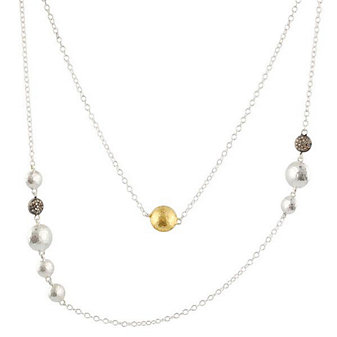 Gurhan Sterling Silver & Yellow Tone Lentil Necklace, 40""
