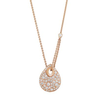 18K Rose Gold Diamond Pave Pear Shaped Drop Necklace, 16""
