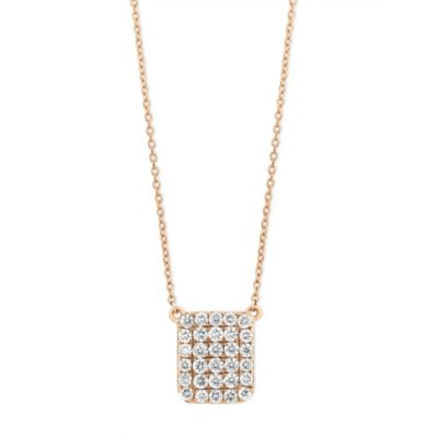 18K Rose Gold Diamond Square Necklace, 18""