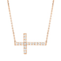 14K_Rose_Gold_&_Diamond_Sideways_Cross_Necklace