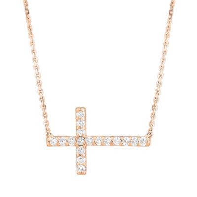 14K Rose Gold & Diamond Sideways Cross Necklace