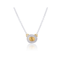 """Lika_Behar_24k_yellow_gold_&_oxidized_sterling_silver_hammered_pendant_with_diamond_frame,_18"""""""