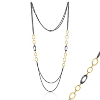 """Lika_Behar_24k_yellow_gold_&_oxidized_sterling_silver_diamond_loop_double_chain_necklace,_38"""""""
