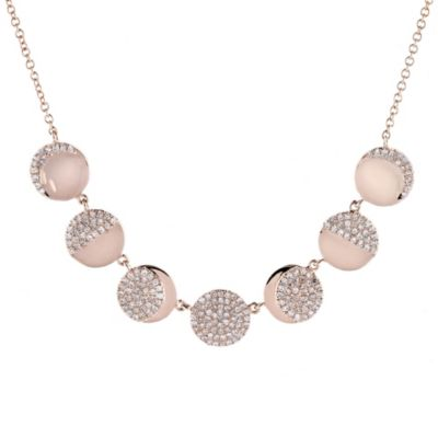 "14k rose gold diamond moon phase necklace, 16-18"""
