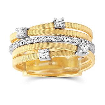 Marco Bicego 18K Yellow Gold 5 Row Diamond Goa Ring