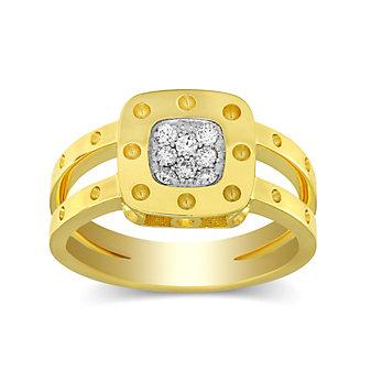 Roberto Coin 18K Yellow Gold Diamond Pois Moi Two Row Ring