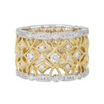 14K_Yellow_&_White_Gold_Geometric_Milgrain_Diamond_Ring,_0.89cttw