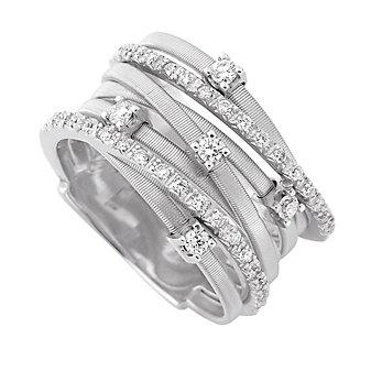 Marco Bicego 18K White Gold Goa Diamond Ring, 0.21cttw