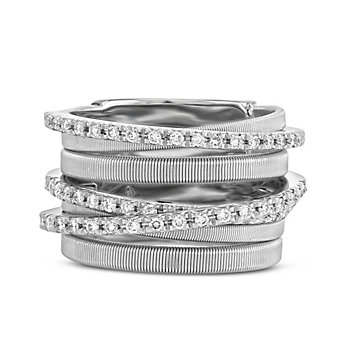 Marco Bicego 18K White Gold Diamond Goa Ring, 7 Row