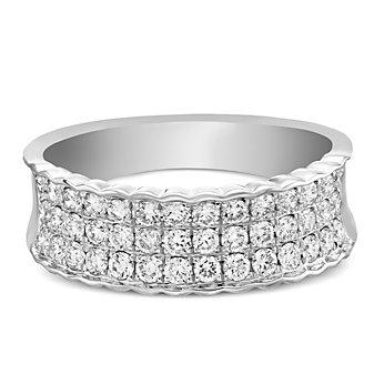 14K White Gold Diamond Scallop Edged Ring