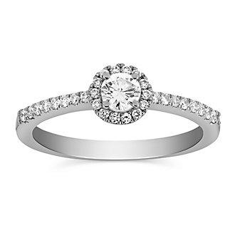 14K White Gold Round Diamond and Round Diamond Halo Ring
