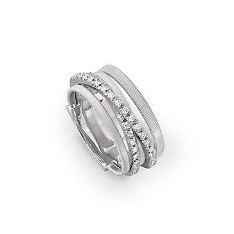 Marco Bicego 18K White Gold GOA Five Strand Pave Diamond Ring, 0.26cttw