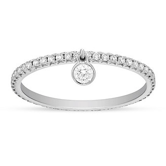 Platinum Round Diamond Eternity Ring with Dancing Bezel Set Diamond