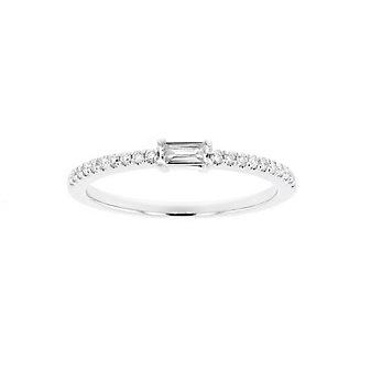14K White Gold Baguette & Round Diamond Ring